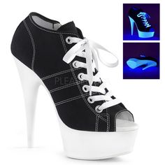 Hot For Heels And More - Pleaser Black Canvas And Neon White - Open toe lace up front canvas sneaker featuring UV black light reactive platform bottom, full inside zip closure. White Platform Sneakers, High Heel Sneakers, Sneaker Heels, Platform High Heels, Black Platform, Open Toe Booties, Ankle Booties, Black Ankle Boots, Heeled Boots