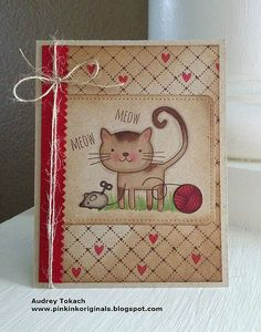 Adorable!!  I love the background paper and the coloring in the image.  This would be super cute recreated with Cozy Cat.
