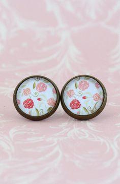 Stud Earrings Brass Post Earrings Floral