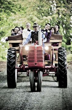 Storied Events I Vermont wedding: Renting an antique tractor to transport the wedding party. Countryside Wedding, Farm Wedding, Rustic Wedding, Dream Wedding, Tractor Wedding, Pond Wedding, Wedding Cars, Wedding Transportation, Barn Parties