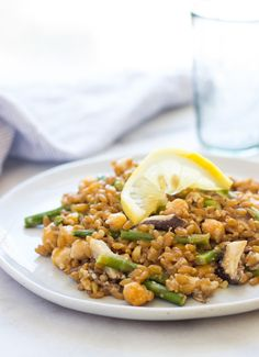 Spring Farro Risotto with Lemon and Tahini