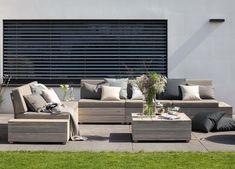 ISLAND Lounge-Set, 5-Sitzer inkl. Tisch, Teak vintage-grau - Wer eine schlichte, moderne Möblierung für den eigenen Garten oder die Terrasse sucht, wird mit der ISLAND-Serie eine tolle Lösung finden.