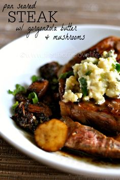 Do you have 20 minutes? Do you have one medium-large skillet or sauté pan? Then guess what? You have everything you need to make this savory steak with gorgonzola butter and mushrooms!