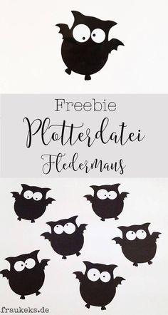 Auf www.fraukeks.de findest du die super süße Halloween Fledermaus als GRATIS download. Einmal für die Silhouette und einmal als PDF zum selber ausschneiden!