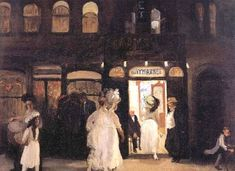 In the late 19th century, the Tenderloin district—from Madison Square to the West 40s along Broadway—was the city's boozy, sleazy, party area. But no place in the Tenderloin was as sinful as the Haymarket, here painted by John Sloan in 1907. It combined the attractions of a restaurant, dance hall, and variety show, and saw to it that you did not lack feminine companionship.