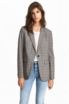 Single-breasted jacket - Grey/Dogtooth patterned - Ladies | H&M GB 1
