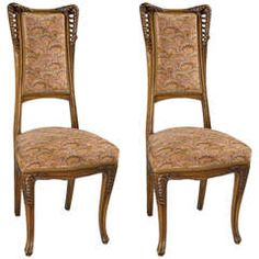 Louis Majorelle Pair of French Art Nouveau Wooden Side Chairs