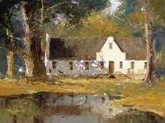 Artwork of Tony de Freitas exhibited at Robertson Art Gallery. Original art of more than 60 top South African Artists - Since Farmhouse Artwork, Cape Dutch, Tree Artwork, Acrylic Artwork, South African Artists, Old Farm Houses, Landscape Artwork, Cape Town, Acrylics