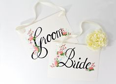 "free hand-drawn wedding printables on Ruffled: ""Bride and Groom"" and ""Please Sign Our Guestbook"" signs, a beverage menu, escort cards and table numbers"