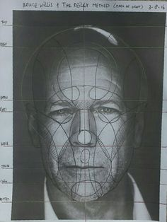 Reilly method practise with a photo of Bruce Willis. #reillymethod #head #proportion #face #bruce #willis #brucewillis #markdegroot
