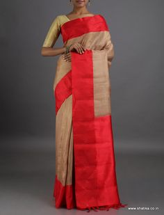 Sadhana Plain with Contrast Border #LinenSilkSaree