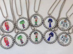 Lot of 10 Teen Titans Go Bottle Cap Necklaces by MiniMagnetMagic