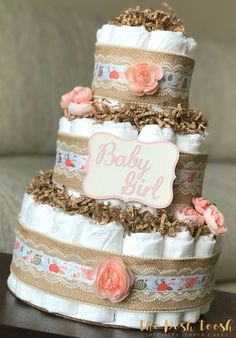 Shabby Chic Coral Diaper Cake Baby Girl Coral Pink by ThePoshToosh