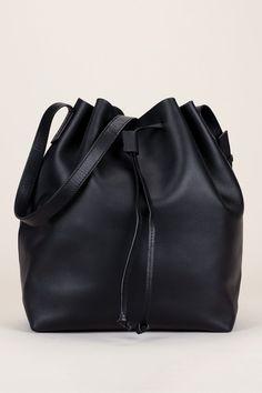 Sac seau cuir noir lien à nouer Twist Bag - Clo&Se