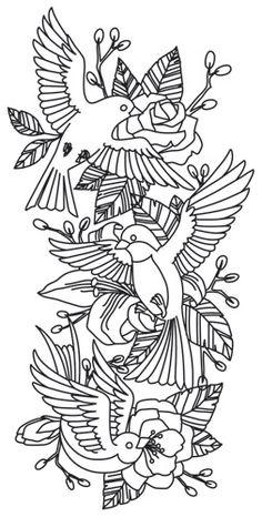 Bird Sleeve design (UTH7811) from UrbanThreads.com
