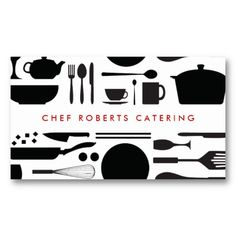 BLACK AND WHITE KITCHEN COLLAGE No. 3 - customizable business card for chefs, catering companies, restaurants, etc.