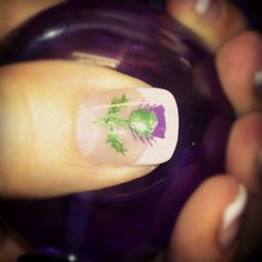 Nothing says Scotland like the image of a thistle - in this case painted beautifully onto a nail! Holiday Nail Designs, Holiday Nails, Gorgeous Nails, Pretty Nails, Scottish Tattoos, Scottish Heather, New Years Nail Art, Plaid Nails, You Are Beautiful