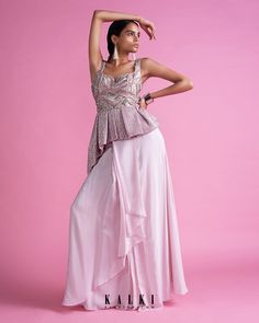 Powder pink skirt with cascading layers matched with a fancy peplum top only on Kalki Cape Lehenga, Pink Lehenga, Crepe Skirts, Sequin Fabric, Powder Pink, Pink Outfits, Indian Designer Wear, Skirt Fashion, Pink Dress