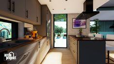 Projekt moderného 4-izbového rodinného domu s názvom Bravo. Súčasťou domu je komfortná obývacia izba spojená s kuchyňou , spálňa, dve detské izby, samostatné WC, kúpeľňa, sklad potravín, šatník, hospodárska miestnosť a letná terasa. Zaujimavosťou domu je zvýšená svetlá výška obývacieho priestoru, ktorá zabezpečuje optimálne presvetlenie dennej časti domu. Kitchen Cabinets, Home Decor, Decoration Home, Room Decor, Cabinets, Home Interior Design, Dressers, Home Decoration, Kitchen Cupboards