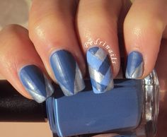 Chevron french manicure with braid accent #nails #nailart #frenchmanicure #nailpolish #naillacquer #stripes #striped #blue #braid #silver