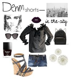 """Denim shorts in the City"" by kotnourka ❤ liked on Polyvore featuring Dsquared2, Étoile Isabel Marant, Lime Crime, Gucci and CÉLINE"