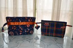 Set of two Auburn bag pouch travel wristlet by AdrianaPatchwork