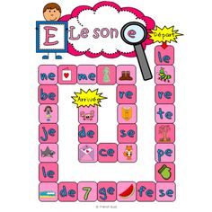 Les sons a-e-i-o-u - jeux sur les sons (board game on sounds) by French Buzz French Teacher, Teaching French, Teaching Tools, Teaching Resources, French Classroom, French Resources, French Immersion, Kindergarten Literacy, French Lessons