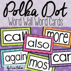Polka Dot Word Wall Words - Editable by Erica Bohrer First Grade Teachers, First Grade Classroom, New Classroom, Teacher Pay Teachers, Classroom Ideas, The Words, Number Words, First Grade Reading, First Grade Math
