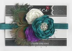 15% OFF FB - Fancy Peacock Headband - Baby Flower Headband - Teal, Ivory and Purple Flowers on Teal Band - Photography Prop - Baby Headband by Graccistore on Etsy https://www.etsy.com/listing/127766389/15-off-fb-fancy-peacock-headband-baby
