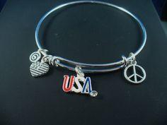 USA  Fourth of July Silver Bangle Bracelet USA by DesignsBySuzze, $15.00