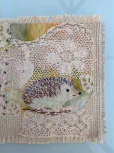 Hedgehog: scrap embroidery. Debbie Irving