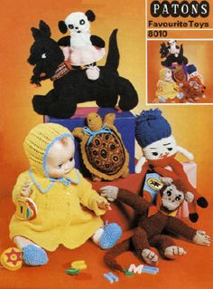 Favourite Toys Vintage Knitting Crochet Patterns Book for download; Dolls, doll clothes and stuffed toys to knit (one crochet) for boys and girls.