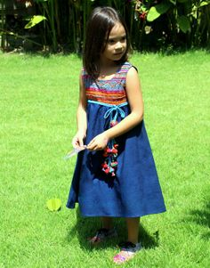 Little Girls Blue Embroidered Bohemian Style by Siamese Dream Design,   #Bohemian #Child #girls #dress