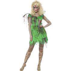 Disfraz de hada verde zombie para mujer