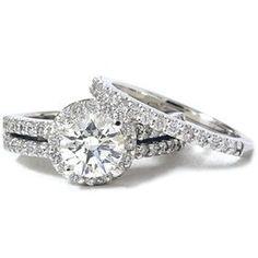 HUGE 1.90CT REAL DIAMOND WEDDING ENGAGEMENT RING SET PAVE HALO WHITE GOLD 14K