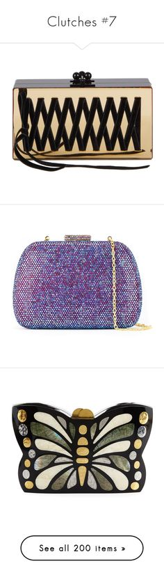 """""""Clutches #7"""" by deborahsauveur ❤ liked on Polyvore featuring bags, handbags, clutches, gold, mirror purse, edie parker clutches, edie parker handbags, edie parker, embellished purse and purple purse"""