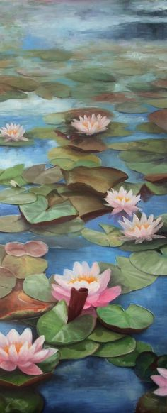 Water Lily oil on canvas by Nicola Cavalla