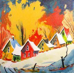 Peinture - medium Acrylique - Serge Nadeau Sketch Painting, Watercolor Sketch, Watercolor Bird, Watercolor Paintings, Acrylic Painting For Beginners, Z Arts, Autumn Art, Tree Art, Flower Art