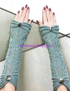 ВСЕ СВЯЗАНО. ROSOMAHA.: Нарядные митенки к свитеру с короткими рукавами.