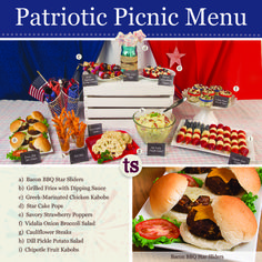 Celebrate the red, white and blue with the easy-to-prepare and impossible-to-resist Patriotic Picnic Menu, featuring Bacon BBQ Star Sliders, Star Cake Pops, Grilled Fries and so much more!