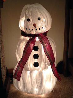 Tomato cage deco mesh snowman
