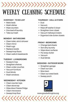 Weekly cleaning checklist ready for spring. House Cleaning Tips, Diy Cleaning Products, Cleaning Solutions, Cleaning Hacks, Cleaning Lists, Weekly Cleaning Checklist, Spring Cleaning Schedules, Household Cleaning Schedule, Cleaning Calendar