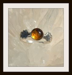 Golden Snitch Amber Oak Leaf Sterling Silver by jewelrybynorth, $65.00