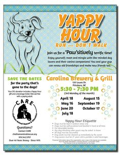 The next Yappy Hour is right around the corner! Join us this Monday May 16th at Carolina Brewery in Pittsboro from 5:30-7:30pm for a doggone good time. This is a great opportunity to bring your pups and the whole family for a fun evening while supporting CARE. Your attendance and support is greatly appreciated!