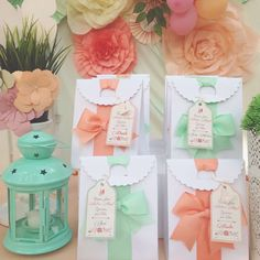 Peach and mint favor bags at a fairy birthday party! See more party planning ideas at CatchMyParty.com!