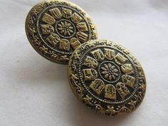 Vintage Buttons -2 extra Large bronze flower matching Collector pressed design, Victorian, (dec 506) by pillowtalkswf on Etsy