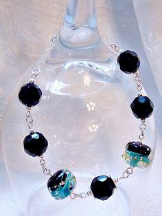 Ocean Affair Bracelet-I LOVE LOVE LOVE these Caribbean blue and Jet black glass beads!!