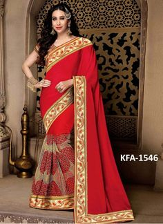 Karishma Kapoor Chiffon Silk Georgette With Nylon Net Red Replica Saree