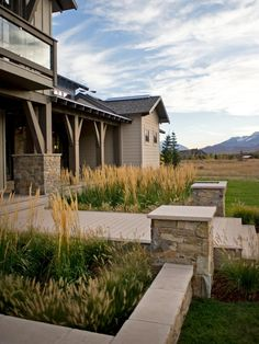 Natural meadow grasses, ornamental grasses and evergreens comprise the thoughtful landscape design.