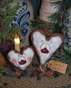 Primitive Patti's Ratties Valentine Gingerbread Heart Ornie Doll Pattern #624